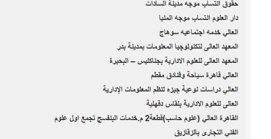 قائمة الكليات والمعاهد المتاحة في تنسيق المرحلة الثالثة 01011