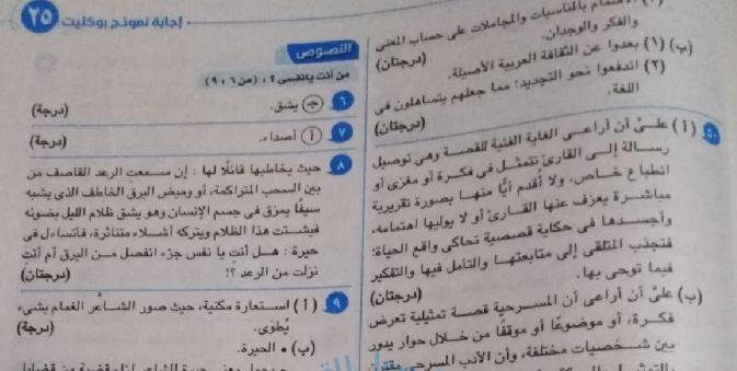 حل نماذج بوكليت كتاب الامتحان فى مادة اللغة العربية للثانوية العامة 2020 011160