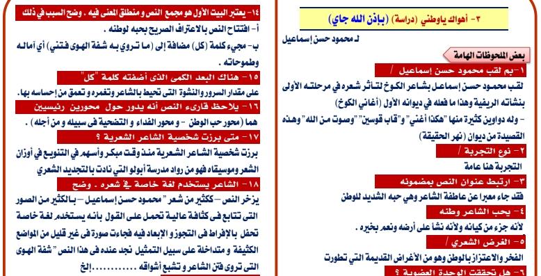 مراجعة أهم نص شعري متوقع في امتحان اللغة العربية للثانوية العامة 2020 011163