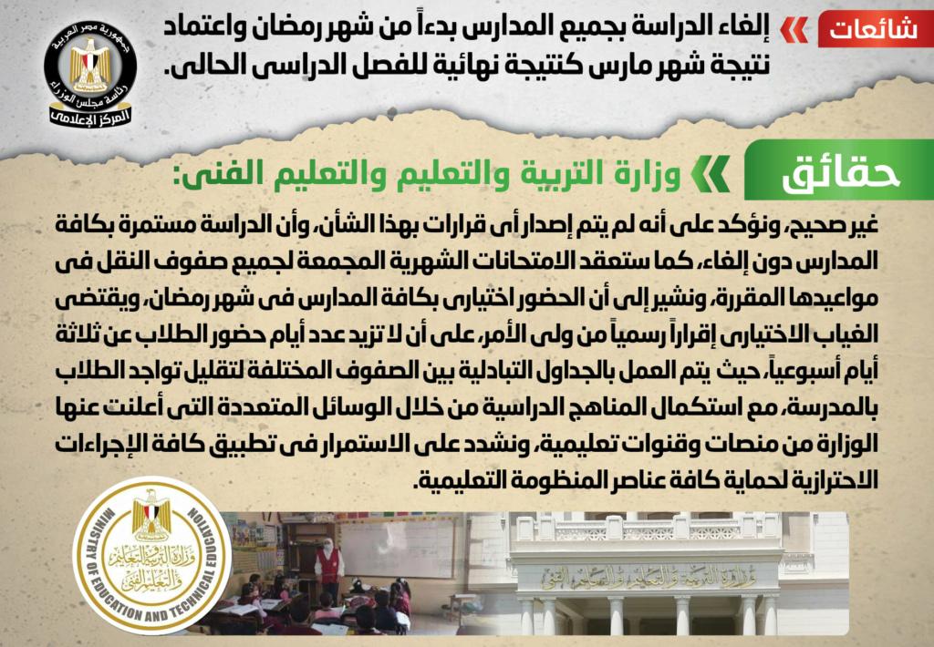 الحكومة تحسم الجدل حول إلغاء الدراسة بدءًا من شهر رمضان واعتماد نتيجة شهر مارس كنتيجة نهائية للترم الثاني 011610