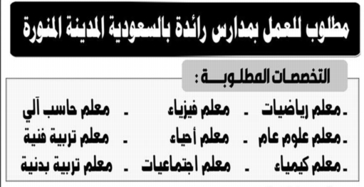 للتعاقد.. معلمين لمدارس رائدة بالمدينة المنورة - السعودية 01175