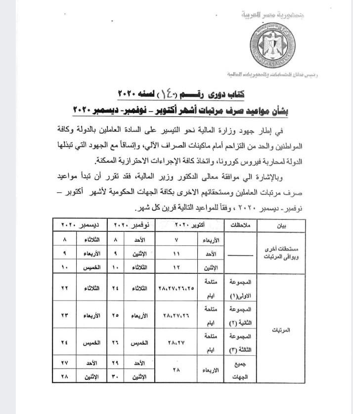 صرف مرتبات المعلمين والعاملين بالتربية والتعليم يوم 27 اكتوبر 01396