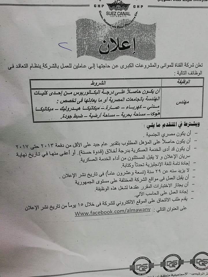 اعلان وظائف هيئة قناة السويس لخريجي كليات الهندسه 0145