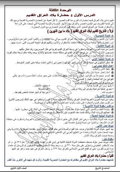 تلخيص التاريخ للصف الأول الثانوى ترم ثانى أ/ محمد السقا  022117
