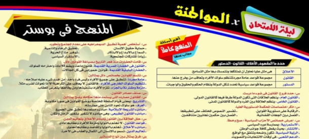 مراجعة التربية الوطنية للثانوية العامة في ورقة واحدة أ/ سامى شهاب