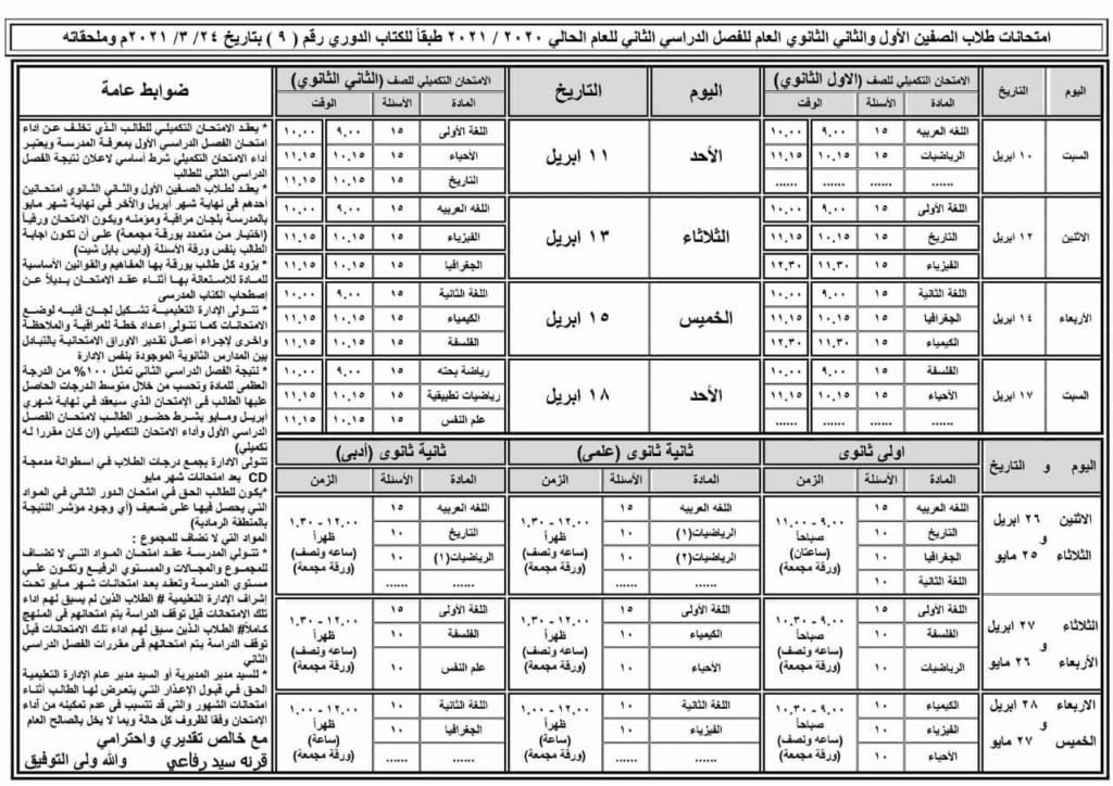 خطة امتحانات طلاب الصفين الأول والثاني الثانوي ابريل ومايو ٢٠٢١ 100161