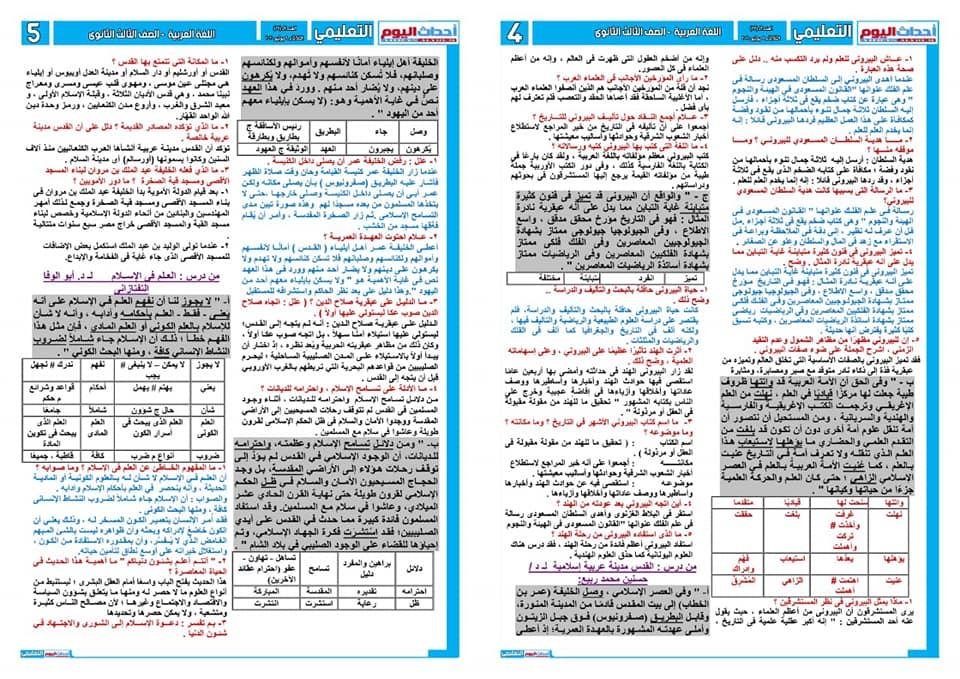 تجميع لمراجعات و امتحانات اللغة العربية للصف الثالث الثانوى  للتدريب و الطباعة 2021 10085