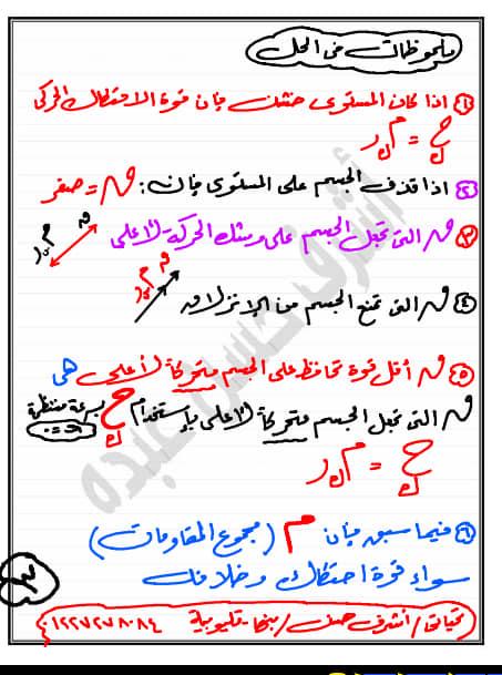 مراجعة قوانين نيوتن - ديناميكا ثالثة ثانوي مستر/ أشرف حسن عبده 10269