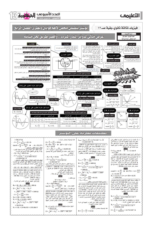 ملخص قوانين ونظرى فيزياء ثالثة ثانوي في ورقتين.. ملحق الجمهورية 102_0013