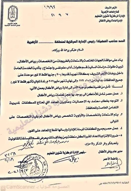 الازهر الشريف يبدأ قبول طلبات اداء الخدمه العامه بالمعاهد الازهرية بمكافاه شهرية 700جنيه 103100