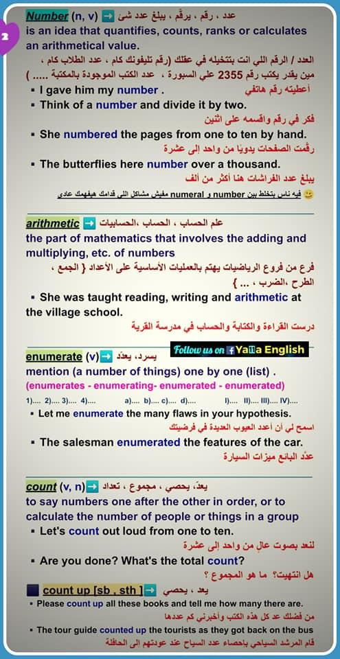 لغة انجليزية: فروق مهمة للغاية  (number - numeral - digit - arithmetic - enumerate - count - numerate - innumerate -innumeracy - outnumber - numerous - numerator - denominator ) 10340