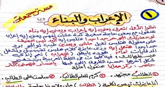 شرح المعرب والمبني من الأسماء والأفعال (نحو 2 اعدادى) ترم اول 1038