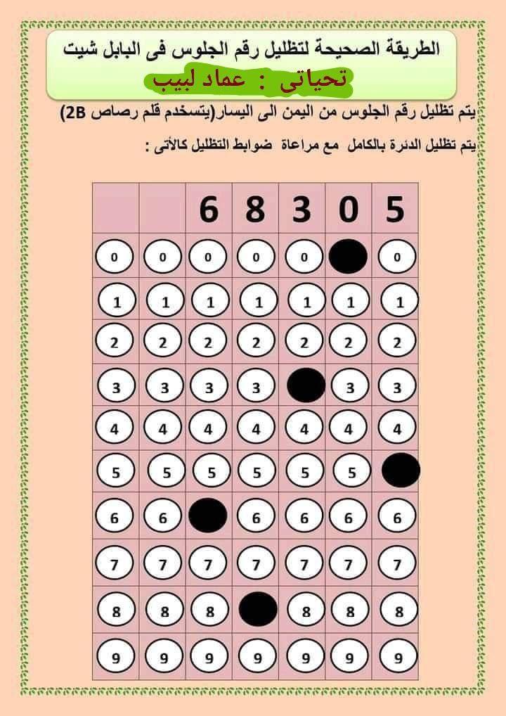 طريقة تظليل رقم الجلوس والإجابات في البابل شيت الثانوية العامة2021 10429