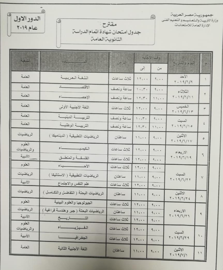 اليوم..  الاتفاق على الجدول النهائي لامتحانات الثانوية العامة 2019 10583510