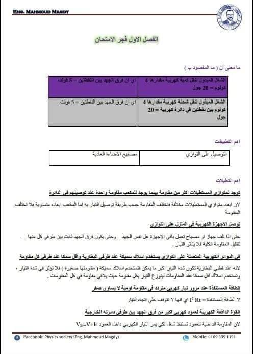 مراجعة منهج فيزياء الثانوية العامة س / ج لمستر محمود مجدي 10712610