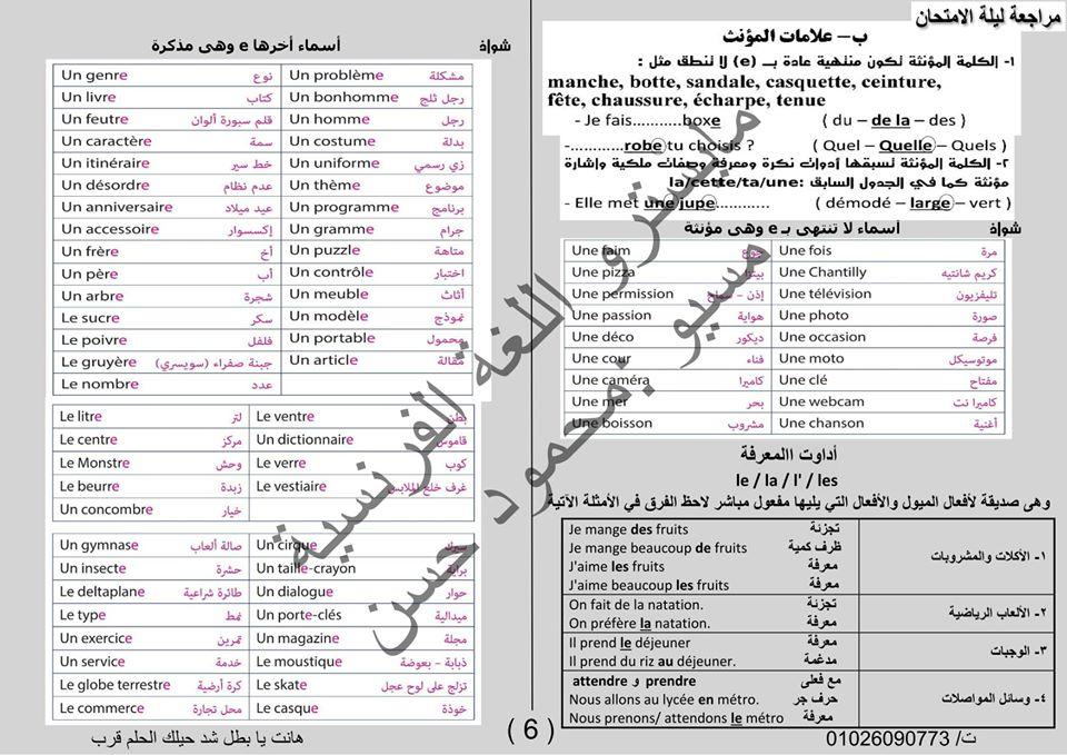 أفضل مراجعة لغة فرنسية للثانوية العامة في 20 ورقة فقط لمسيو محمود حسين 10763210