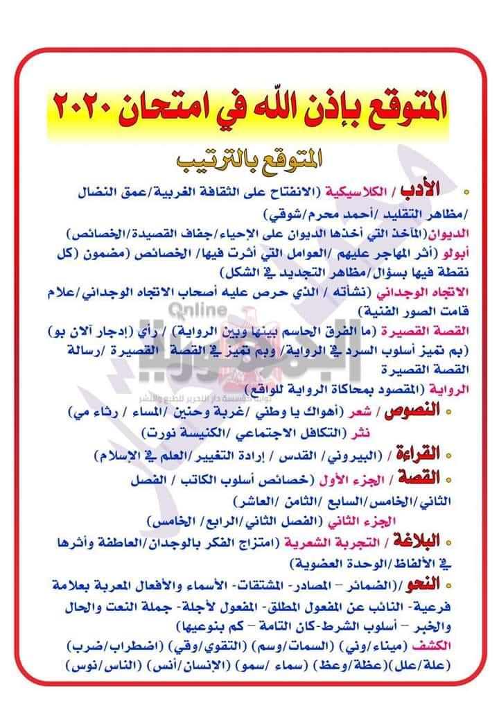 امتحان لغة عربية الثانوية العامة.. المتوقع من جريدة الجمهورية بالترتيب 110101