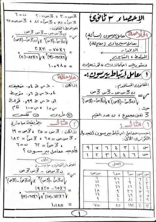 مراجعه الإحصاء للصف الثالث الثانوي أ/ أحمد عبد الحميد 11020