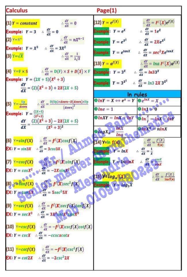 مراجعة قوانين Calculus للثانوية العامة لغات مستر/ أحمد باهي 11033