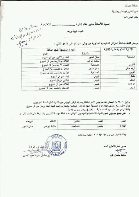 """ندب الموجهين لسد العجز بالمدارس """"مستند"""" 11096"""