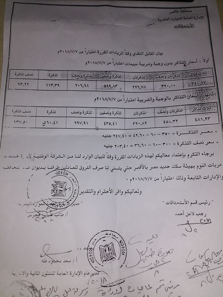 مستندات.. زيادة البدل النقدى للموظفين والمعلمين بمحافظة الاقصر 11100