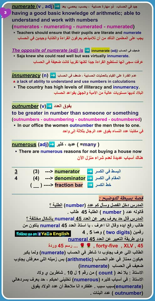 لغة انجليزية: فروق مهمة للغاية  (number - numeral - digit - arithmetic - enumerate - count - numerate - innumerate -innumeracy - outnumber - numerous - numerator - denominator ) 111039