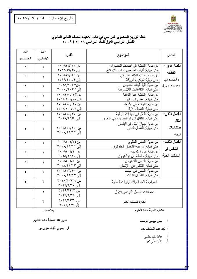 توزيع منهج الأحياء للصف الأول والثاني والثالث الثانوي 2018 / 2019 11104