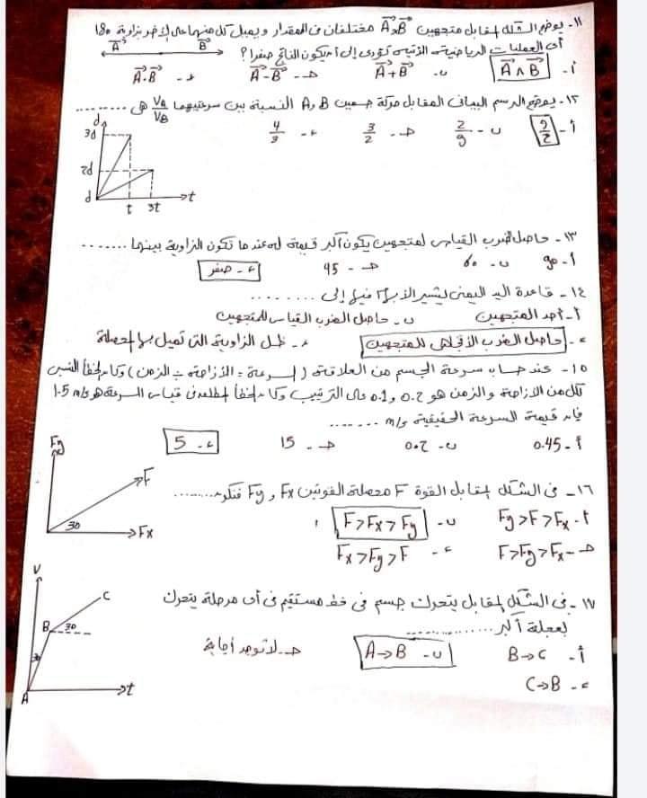 50 سؤال فيزياء أولى ثانوى بالاجابات علي منهج الترم الاول  111074