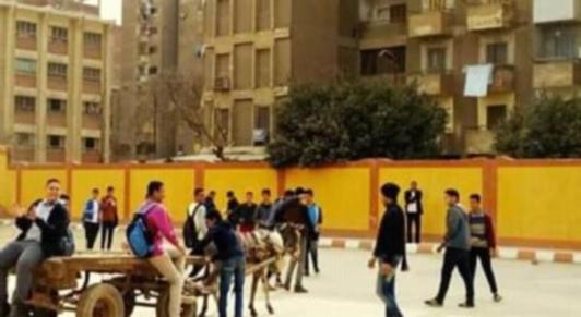 """طلاب يتجولون بعربة كارو داخل مدرسة بحلوان """"صور"""" 11206"""