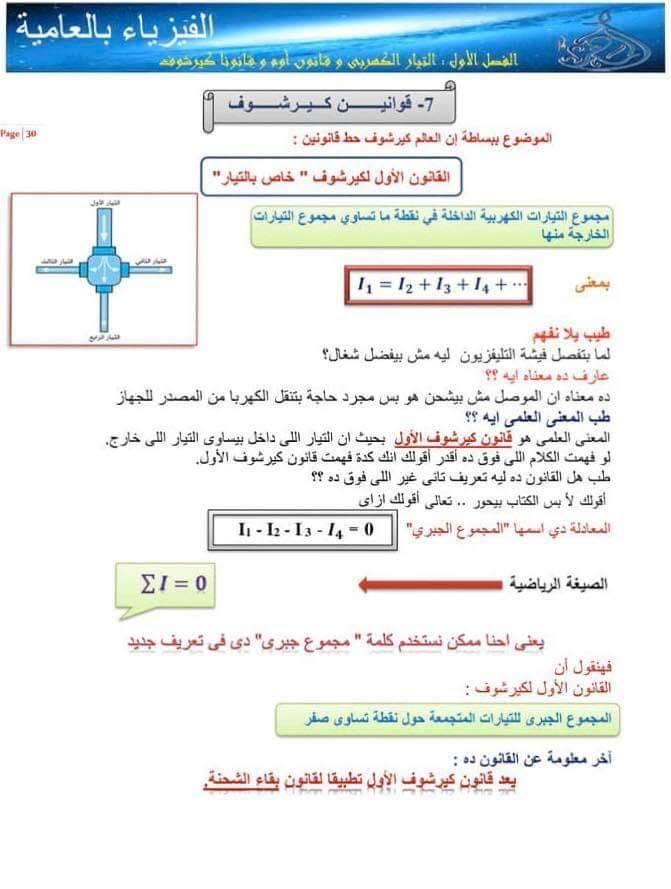 ملخص قوانين كيرشوف وطريقة حل المسائل - فيزياء تالتة ثانوي أ/ رامي ماهر 11297