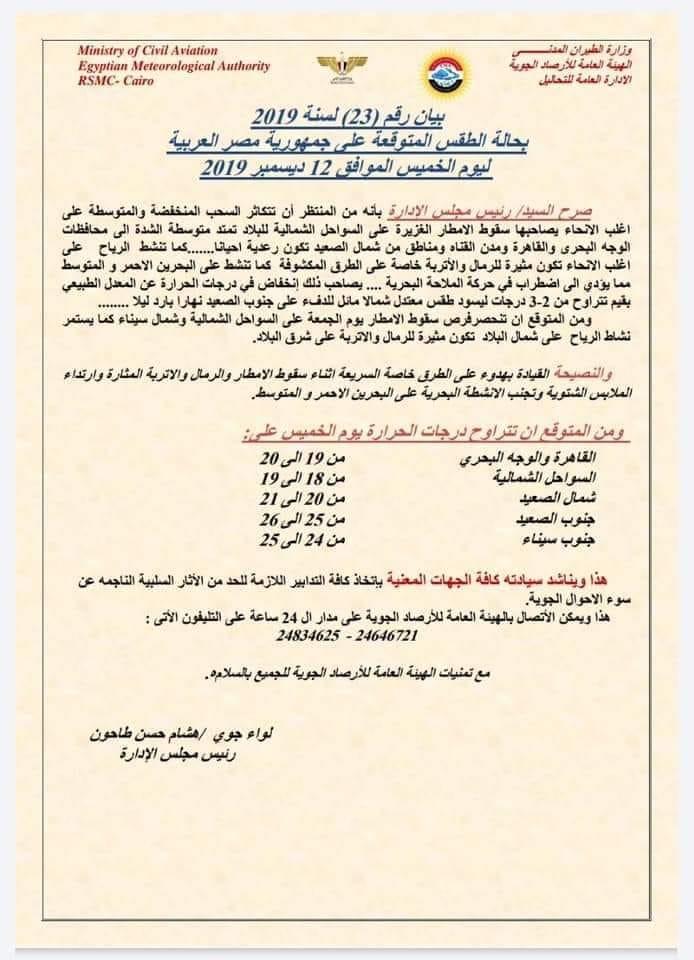 """الأرصاد تحذر من طقس الخميس الموافق 12 ديسمبر 2019.. """"فيديو"""" 11350"""