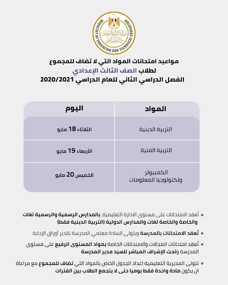 جدول امتحانات المواد غير المضافة للمجموع للصف الثالث الاعدادي الترم الثاني 2021 114108