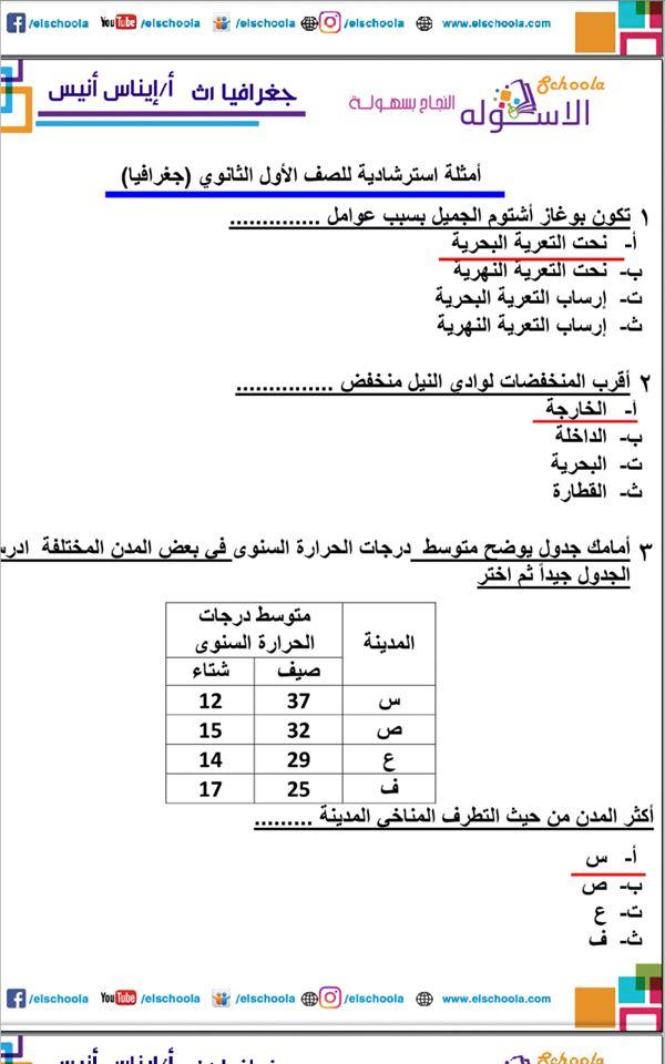 اجابة امتحان الوزارة جغرافيا الصف الاول الثانوي 11466