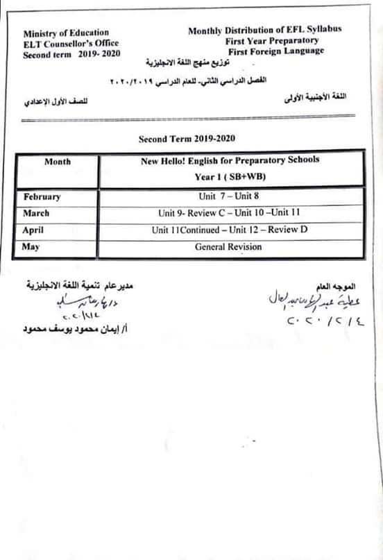 توزيع منهج اللغة الانجليزية الترم الثاني 2020 للصف الاول الاعدادي و الصف الاول الثانوي 11524