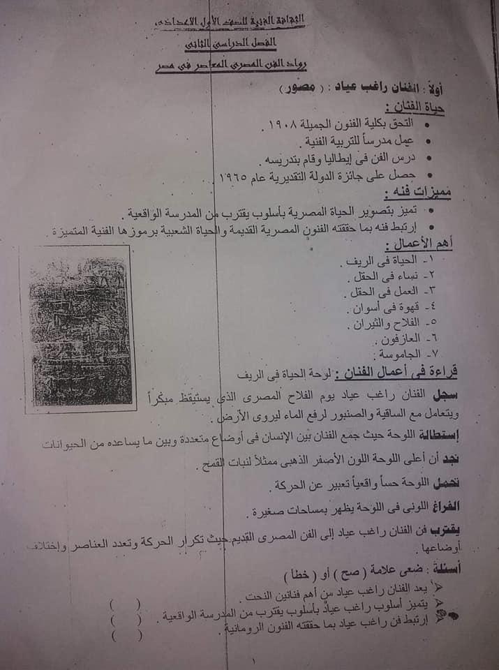 ملخص منهج التربية الفنية للصف الأول الإعدادي ترم تاني في ٣ورقات فقط !!!!!! 11546