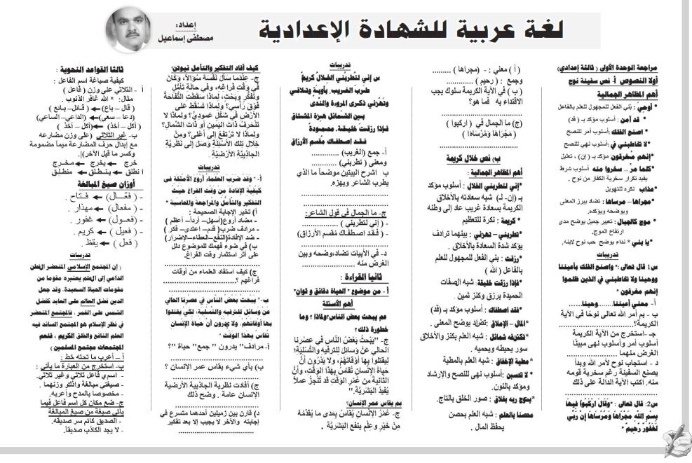 مراجعة ملحق المساء لغة عربية ورياضيات وانجليزى للصف الثالث الاعدادي ترم ثاني 2020 11571