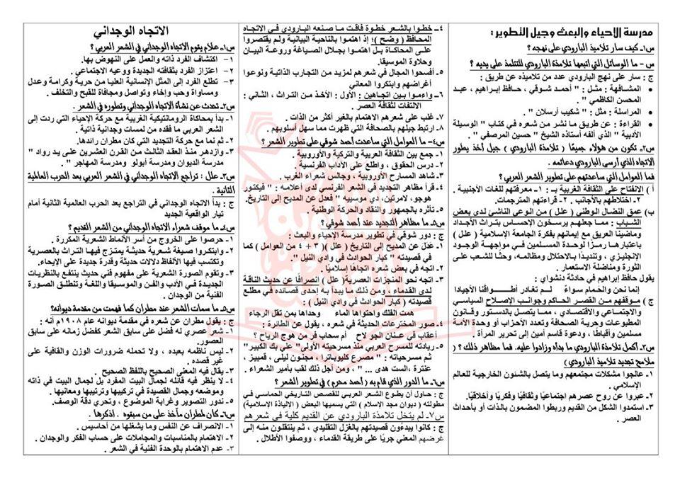 تجميع لمراجعات و امتحانات اللغة العربية للصف الثالث الثانوى  للتدريب و الطباعة 2021 11834