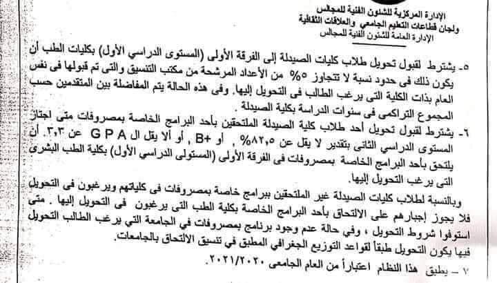 المجلس الأعلي للجامعات يعلن شروط التحويل من كلية الصيدلة لكلية الطب 12031