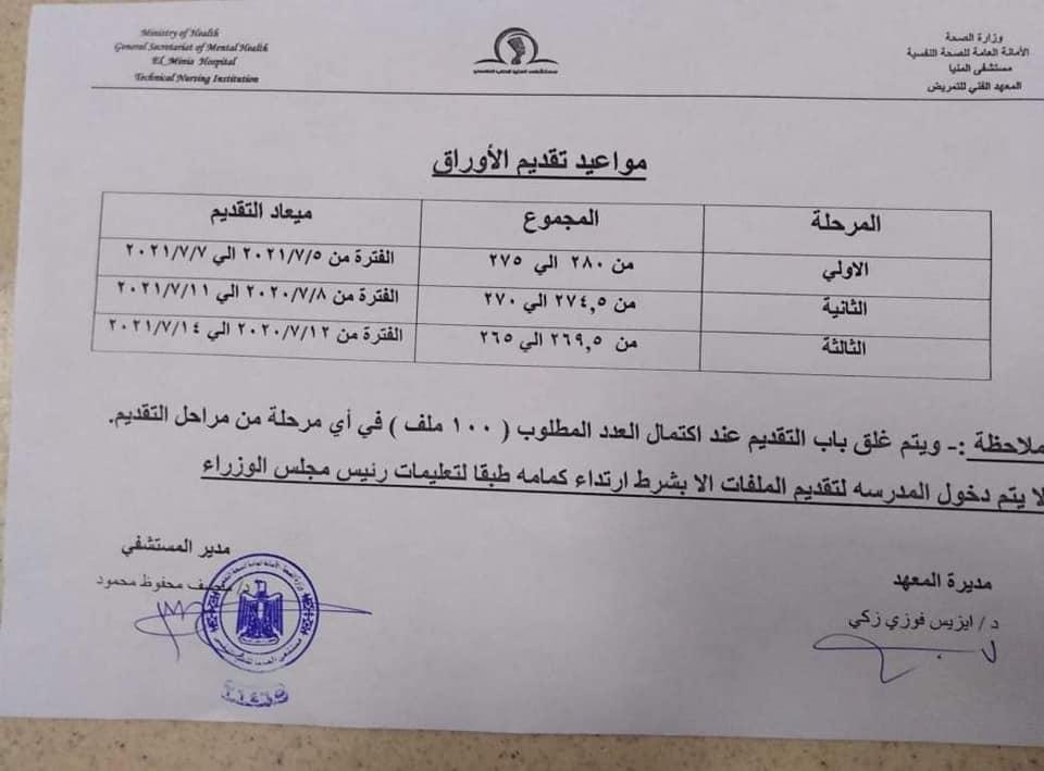 تنسيق المعهد الفنى للتمريض بنين بعد الاعدادية بمحافظة المنيا  121034