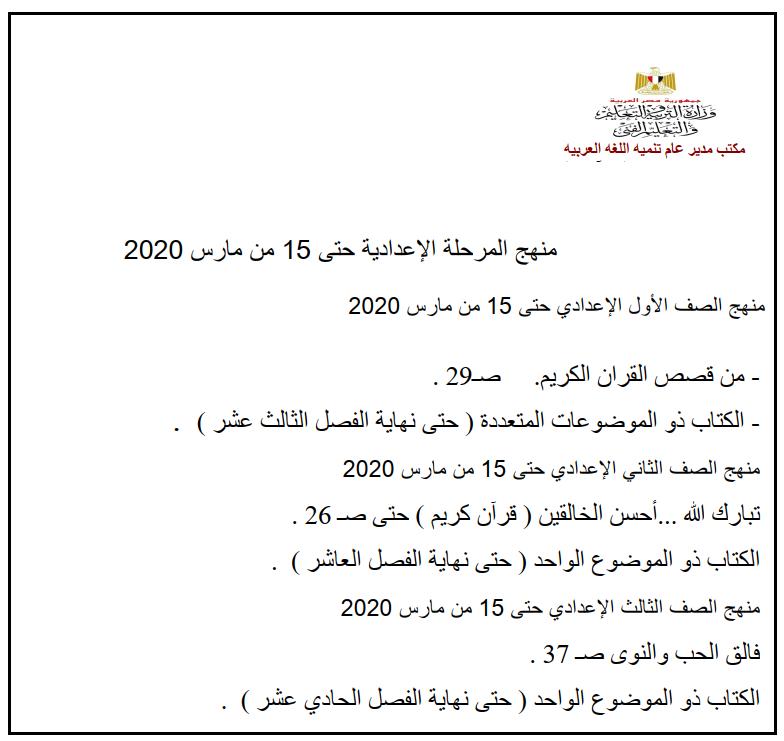 المقرر من منهج اللغة العربية لجميع المراحل ابتدائي - اعدادي - ثانوي  حتي 15 مارس 2020 1220