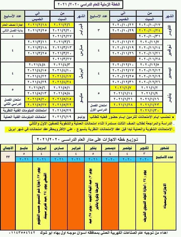 الخطة الزمنية للعام الدراسى 2020 / 2021 والاجازات المقررة لهذا العام 122132