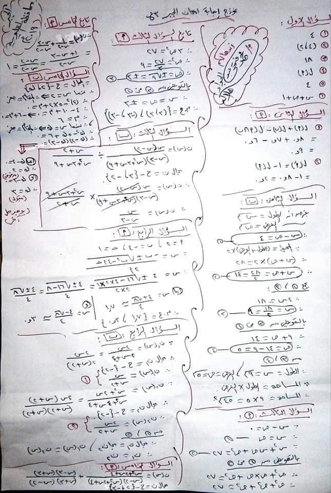 إجابة امتحان الجبر للصف الثالث الاعدادي ترم ثاني 2019 محافظة القليوبية 12254