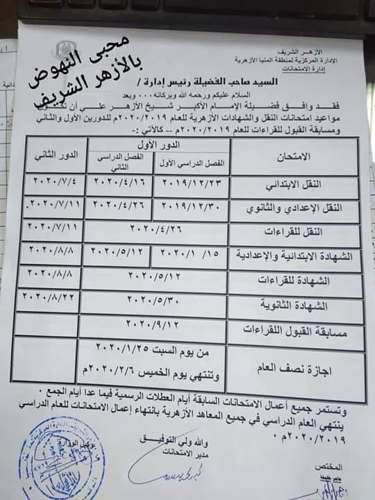 جدول مواعيد امتحانات صفوف ابتدائي واعدادي وثانوي 2019-2020 بالازهر 12299