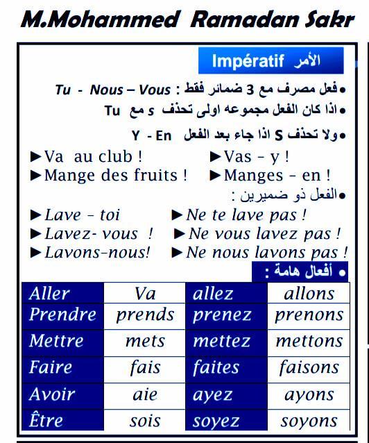 مراجعة لغة فرنسية الصف الثالث الثانوى.. زمن الأمر 12384