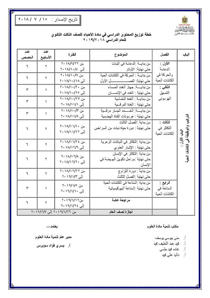 توزيع منهج الأحياء للصف الأول والثاني والثالث الثانوي 2018 / 2019 1240