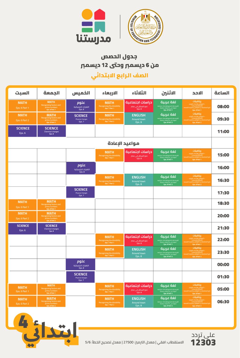 جدول حصص قناة مدرستنا الأسبوع الثامن لصفوف المرحلتين الابتدئية والاعدادية 1241
