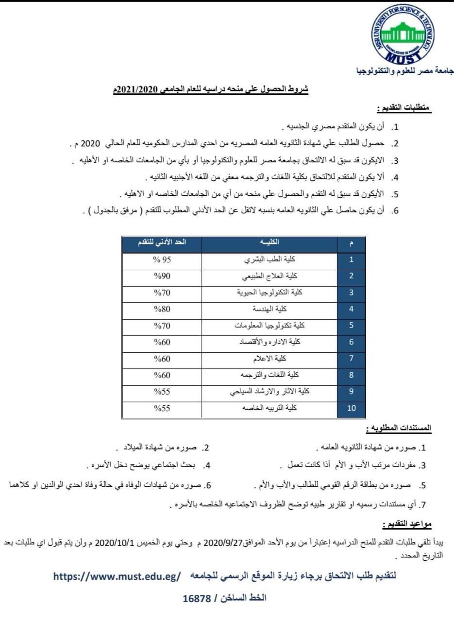 منحة جامعة مصر للعلوم والتكنولوجيا.. اخر موعد للتقديم 1 اكتوبر 12468