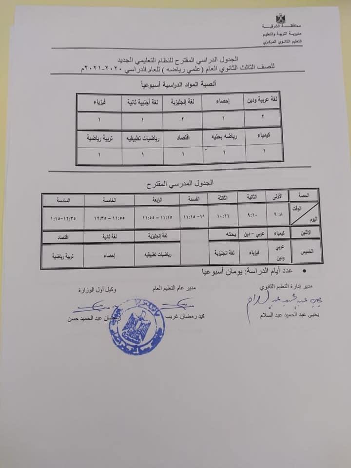 الجدول الدراسي المقترح لصفوف الثانوي العام - النظام الجديد للعام 2020 / 2021 12491