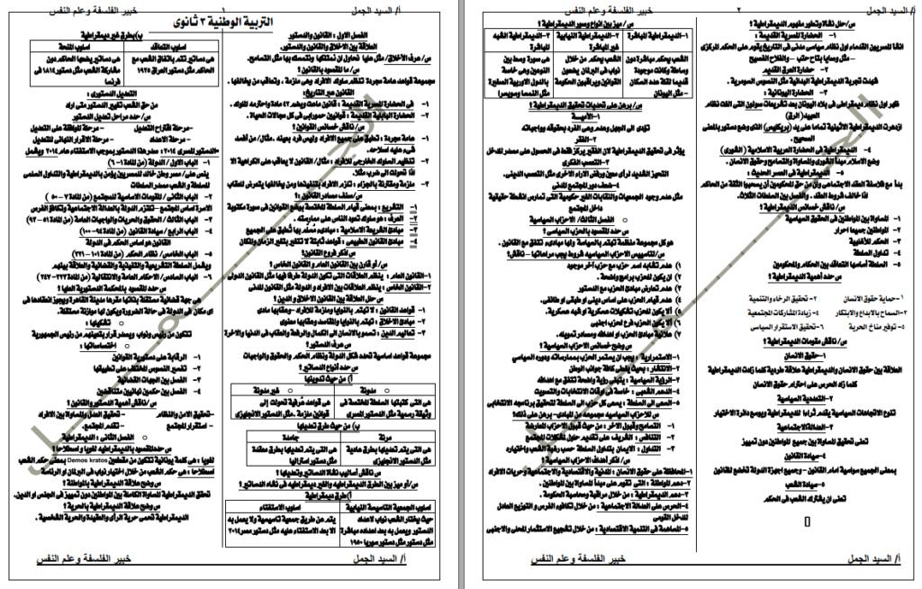 ملخص مواطنة ثالثة ثانوي فى 4 ورقات 1254