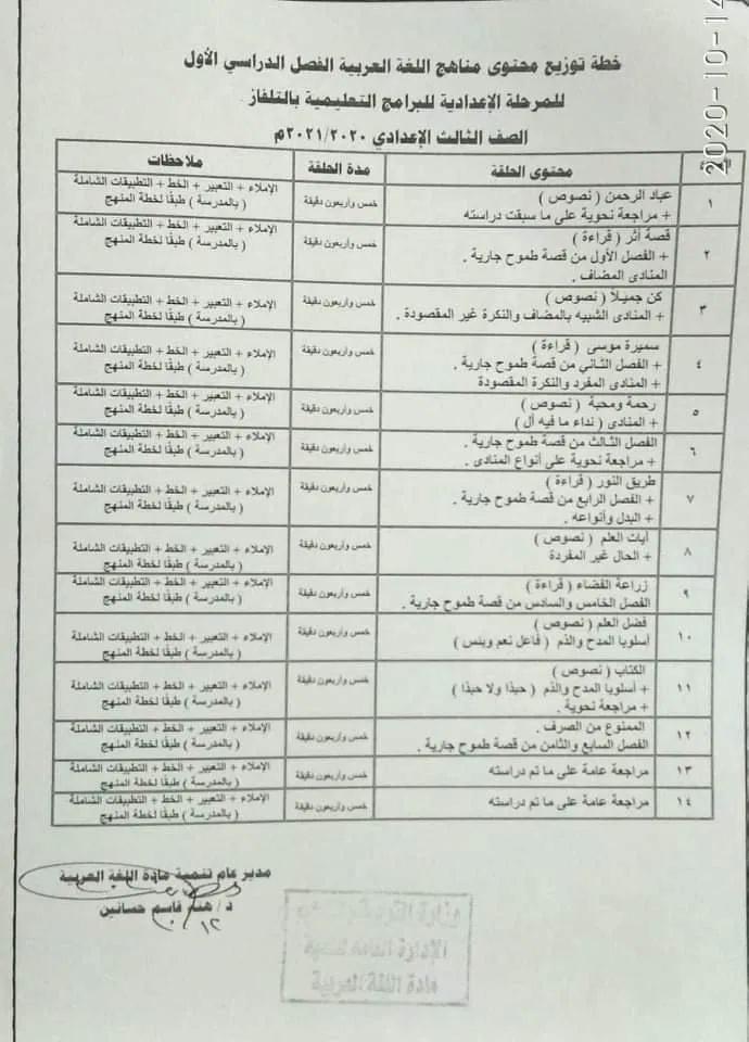 خطة توزيع محتوى منهج اللغة العربية الترم الأول للمرحلة الاعدادية للبرامج التعليمية بالتلفزيون المصرى 12603
